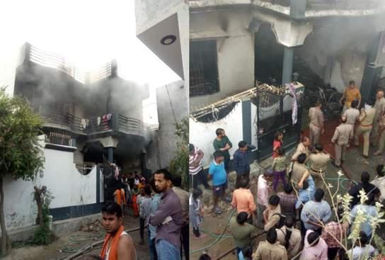 अग्निकांड ! चूल्हा गोदाम में लगी आग में पति,पत्नी व मासूम बेटी सहित पांच की मौत