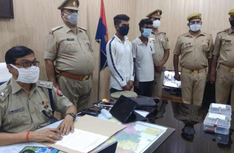 चोरी के छह मोटरसाइकिलों सहित दो वाहन चोर  गिरफ्तार, तीन चोर फरार