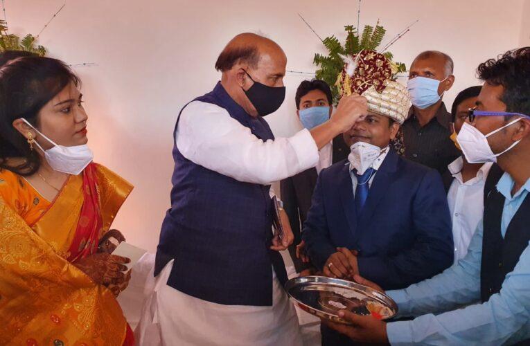 रक्षा मंत्री ने दत्तक पुत्र के शादी कार्यक्रम में पहुंच कर निभाया पितृ धर्म