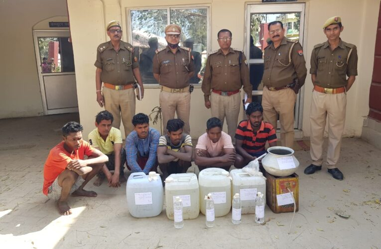 अवैध देशी शराब संग छह अभियुक्त गिरफ्तार