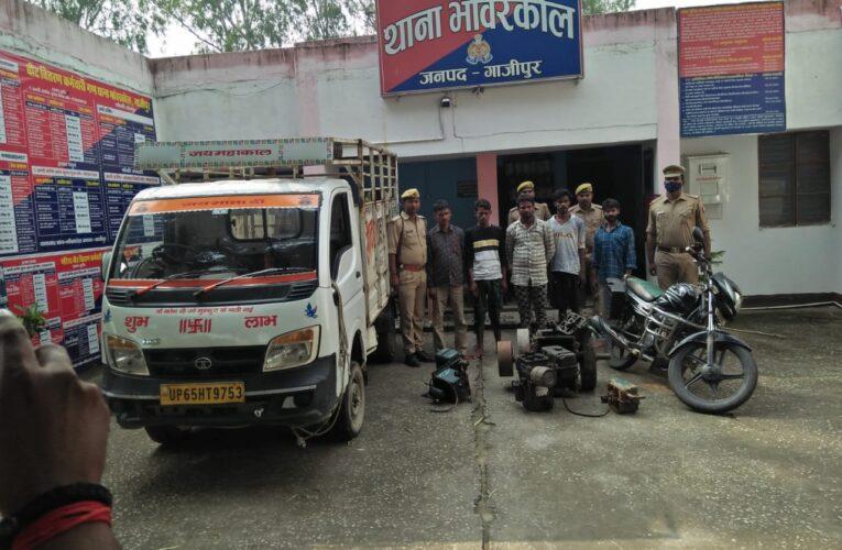 चोरी के मोटर व इंजन सहित पांच अभियुक्त गिरफ्तार